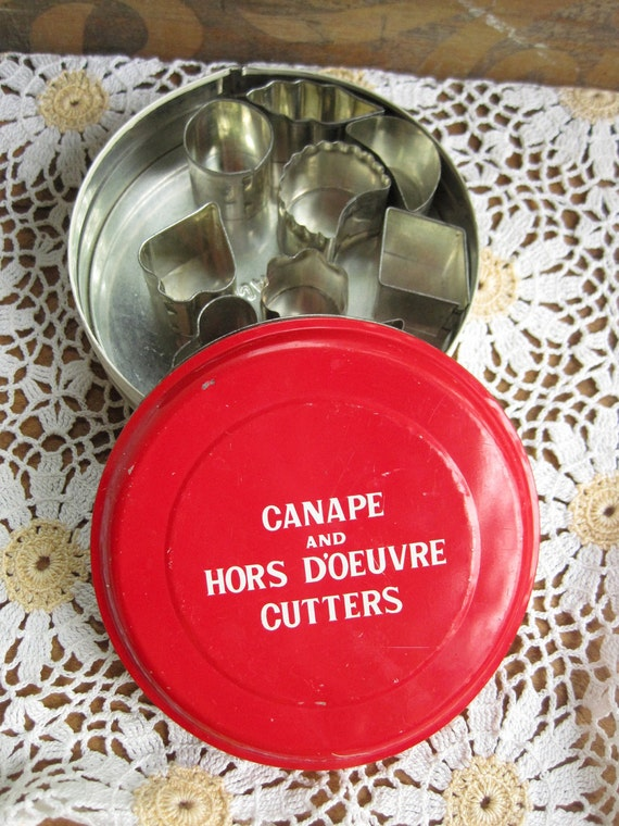 Vintage Canape and Hors Doeuvre Cutters in Tin Holiday Hostess Gift