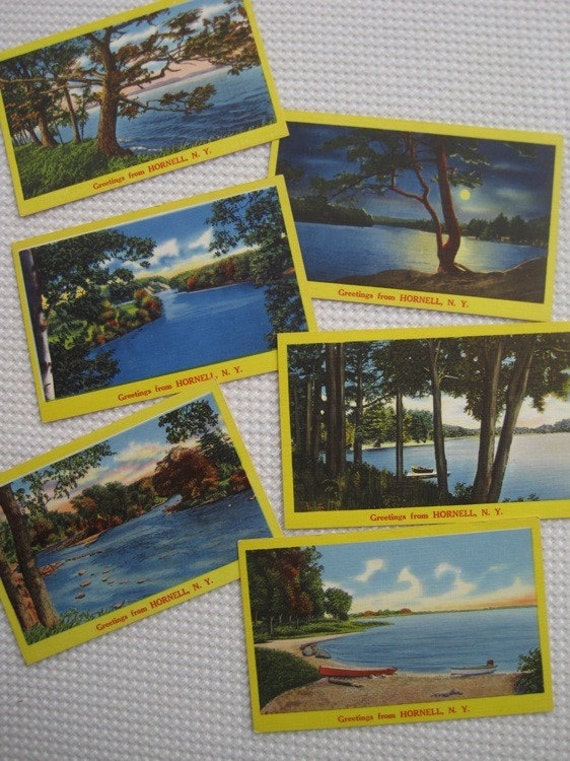 Vintage 1940's Greetings From Hornell, New York Unused Linen Postcards