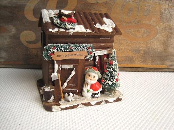 Vintage Christmas Decoration Sale Santa at the Wooden Coaster Cabin