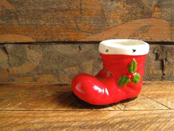 Vintage Christmas Decoration Sale Small Santa Boot by Lefton Japan Air Plant Planter Small Sweet Gift