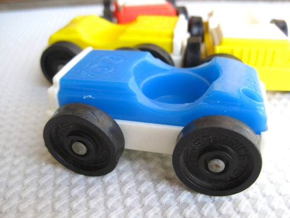 Vintage Fisher Price Little People Cars Red Blue Yellow set of 4
