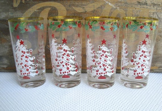 Vintage Christmas Decoration Sale Holiday White Christmas Tree Red Candles Highball Glasses