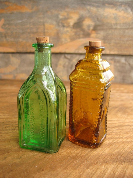 Vintage Miniature Bottles Green Tonic and Amber Apple Bitters
