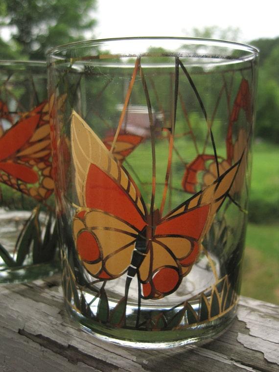 Vintage Gold and Orange Butterfly Culver Rocks Glass set of 4
