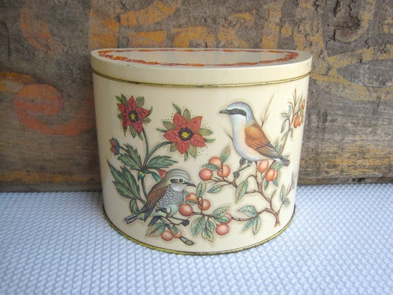 Vintage Birds and Berries Half Round Tin by Daher