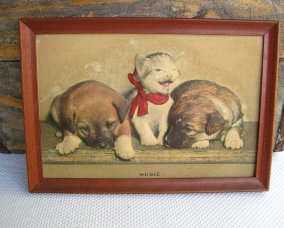 Vintage Kitten with Red Bow and Puppies Susie Dimensional Framed Litho