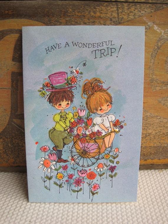 Vintage Have a Wonderful Trip Bon Voyage Greeting Card Colorful Flower Cart