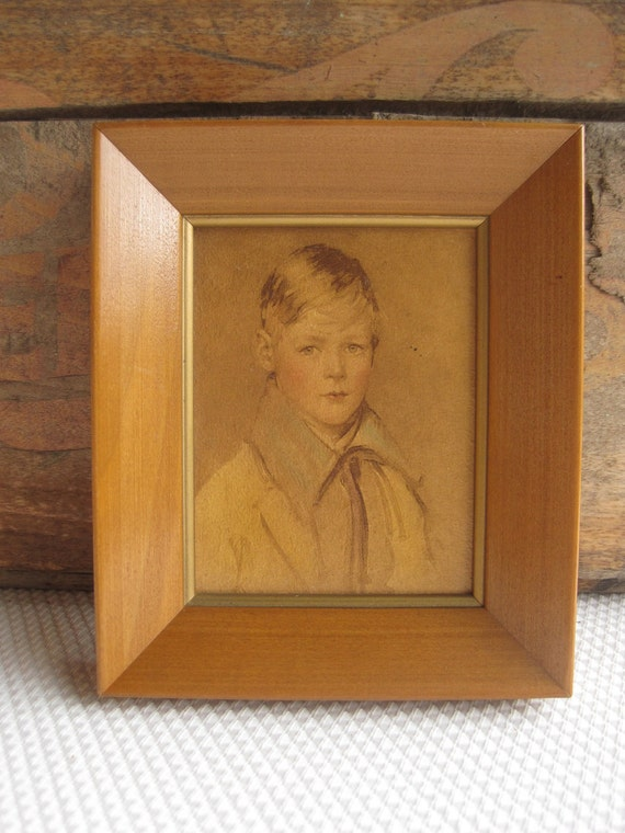 Vintage Rustic Child Boy Portrait Peter by Arthur Garratt Framed Print