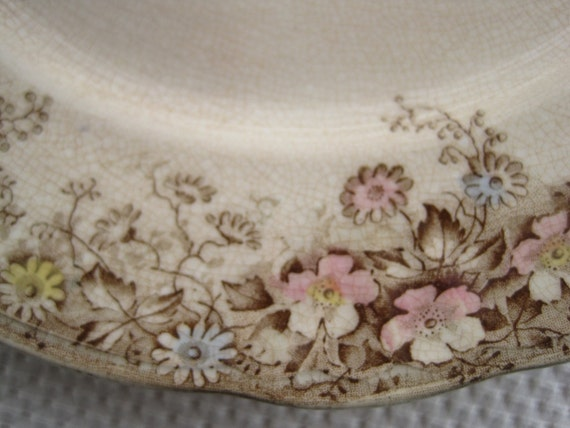 Vintage Thomas Hughes and Son Brown Floral Plate
