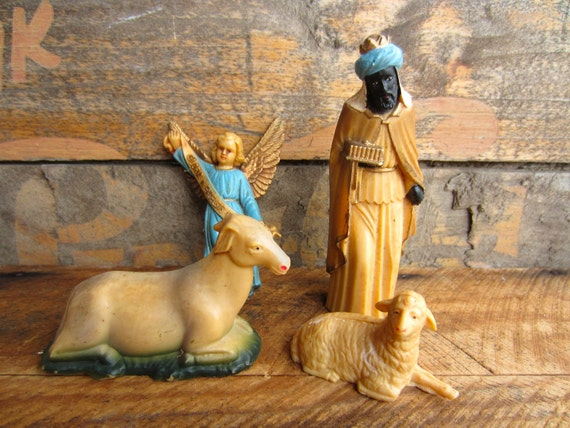 Vintage Christmas Nativity Creche Pieces Angel Wise man Sheep Goat