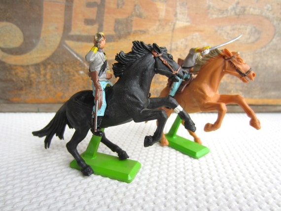 Vintage Confederate Cavalry Horses Soldiers Britains Deetails Made in England
