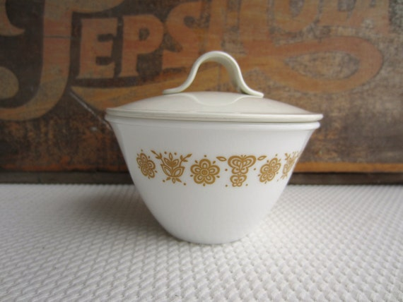 Vintage Butterfly Gold Sugar Bowl with Plastic Lid Corelle Corning