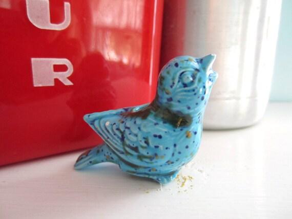 Vintage Aqua Blue Speckled Bird Crafting Supply