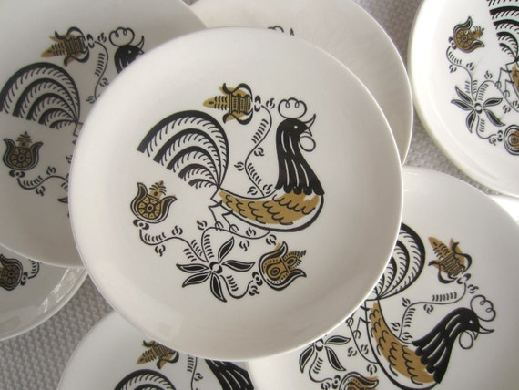 Vintage Good Morning Rooster 1950s Mid Century Mod Bread and Butter Plates by Royal