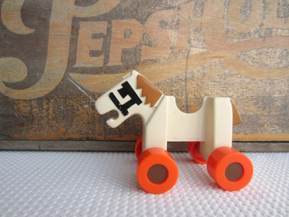 Vintage Toy White Horse on Orange Wheels Made in Hong Kong