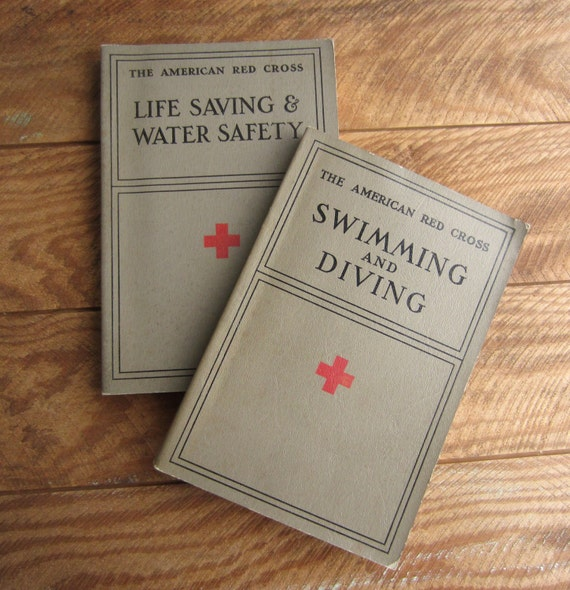 Vintage 1938 Swimming and Diving 1937 Life Saving and Water Safety American Red Cross Instructional Manuals Books