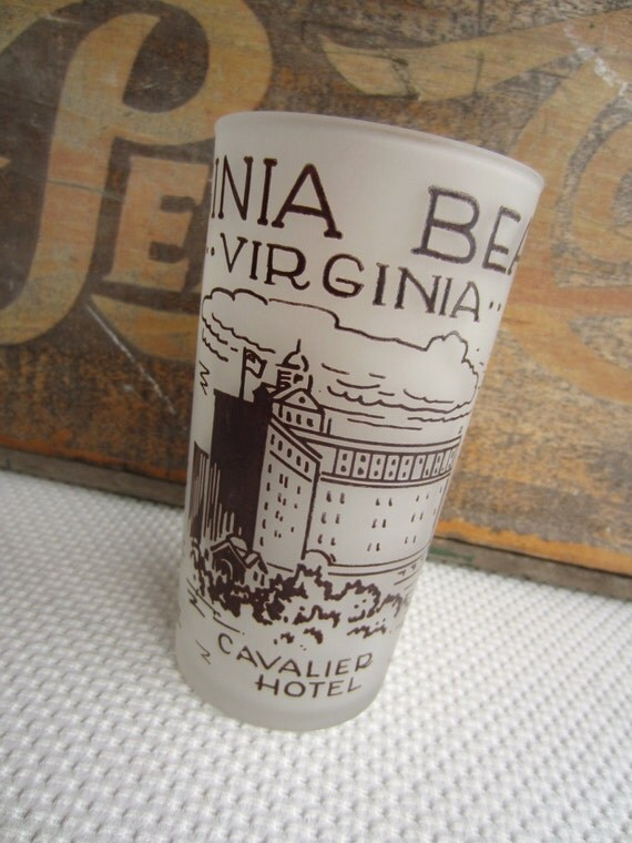 Vintage Virginia Beach Frosted Souvenir Glass Hazel Atlas