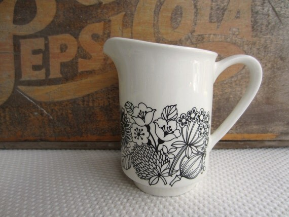 Vintage Black Floral on White Ironstone China Creamer Manitou by Grindley England