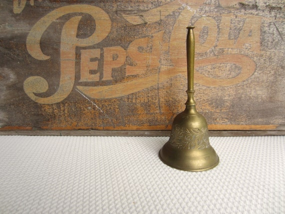 Vintage Brass Bell Floral Etched Made in India