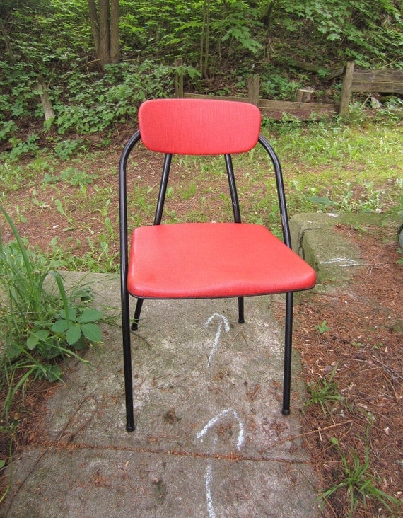 Vintage Mid Century Folding Chair Red Vinyl and Black Metal