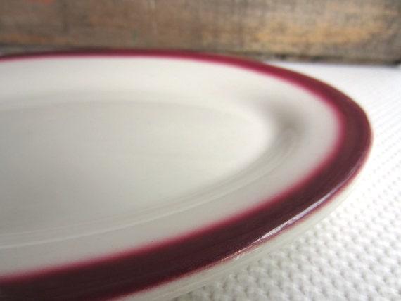 Vintage Red Rim Airbrush Oval Restaurant Platter Buffalo China