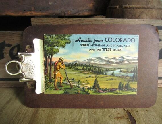 Vintage 1950s Howdy from Colorado Linen Postcard Mountain Prairie Mountain Man