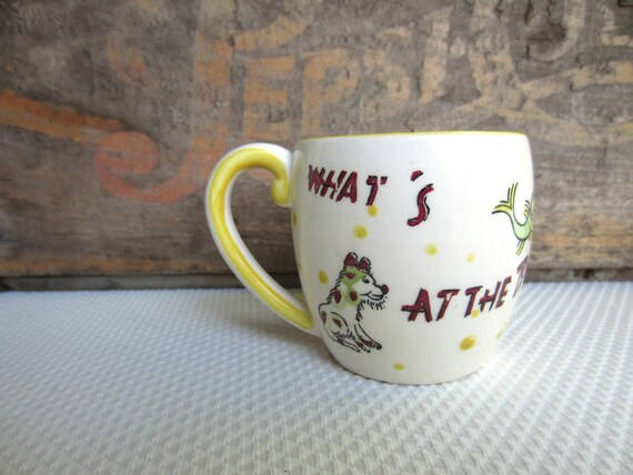 Vintage 1950s Nasco Mystery Mug with Spotted Dog