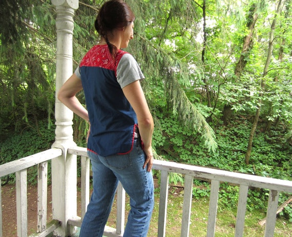 Vintage Smock Top Red White and Blue