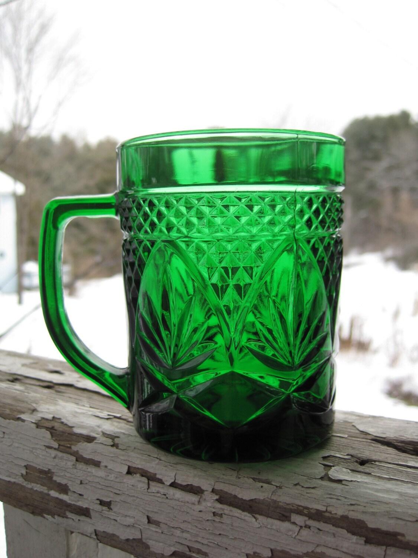 Vintage Emerald Green Cut Glass Mug