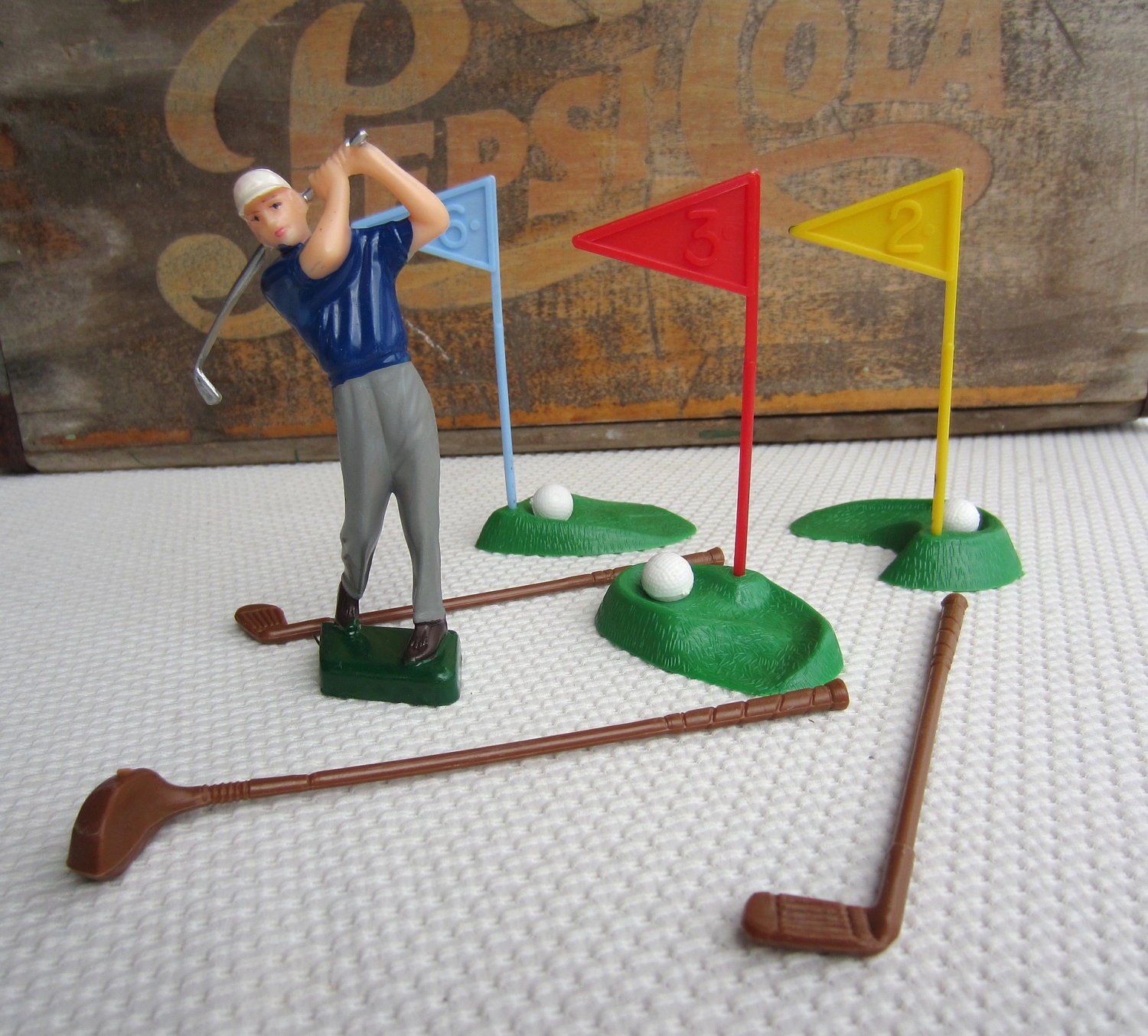 Vintage Male Golfer Cake Topper Set Birthday for Him Made in
