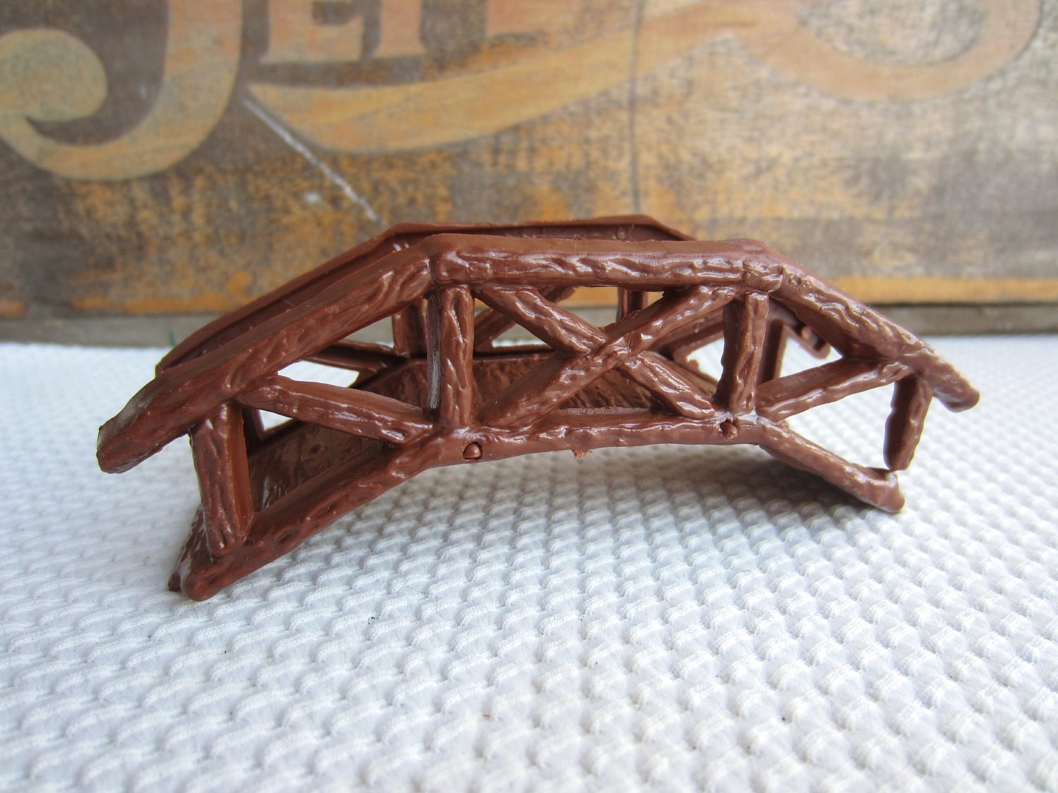 Vintage Wooden Bridge Plastic Cake Topper Decoration Made In