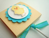Easter Chick Lollipop Favors, Yellow and Aqua, Set of Ten