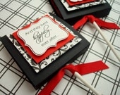 Custom Lollipop Covers, Black Red and White Damask, (80) Reserved