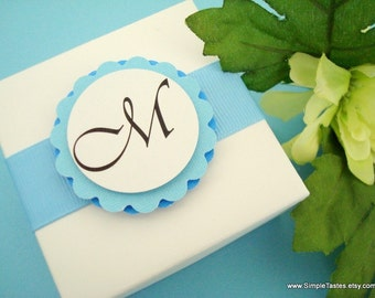 White and Blue Wedding Favor Boxes with Monogram Tag and Polka Dot Liner
