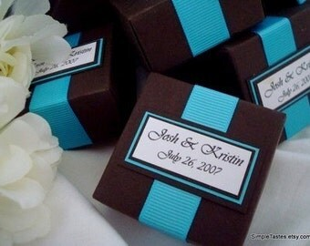 Custom Wedding Favor Boxes, Brown and Teal, Set of Ten