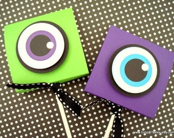 Eyeball Lollipop Party Favors, Lime Green and Purple, Set of Ten