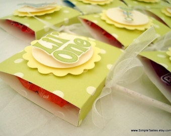 Baby Shower Lollipop Favors, Lime Green Polka Dot, Set of Ten