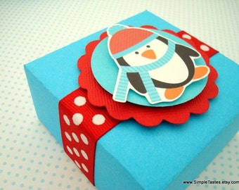 Winter Penguin Favor Boxes, Teal and Red, Set of Ten