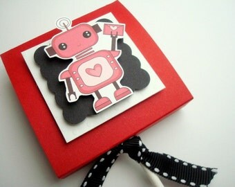 Red Robot Valentine Lollipop Party Favors with Personalized Tags, Set of Ten