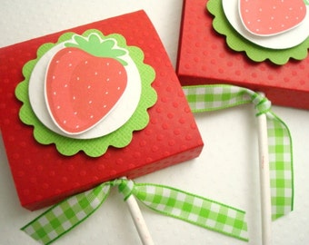 Red Strawberry Topped Lollipop Favors, Set of Ten