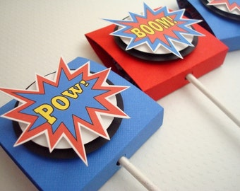 SuperHero Lollipop Party Favors, Red and Blue, Set of Ten