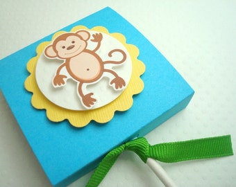 Monkey Lollipop Party Favors, Blue and Green, Set of Ten