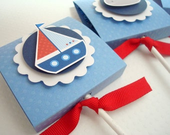 Sailboat Lollipop Party Favors, Blue and Red, Set of Ten