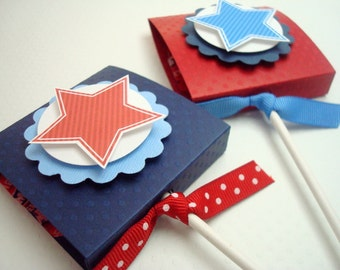 Stars and Stripes Patriotic Lollipop Favors, Set of Ten