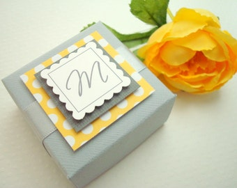 Personalized Wedding Favor Boxes, Gray and Yellow, Set of Ten
