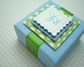 Personalized Baby Boy Favor Boxes, Blue and Green, Set of Ten