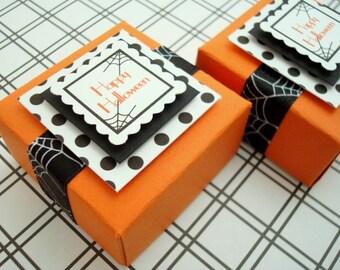 Happy Halloween Party Favor Boxes, Orange and Black Polka Dot, Set of Ten