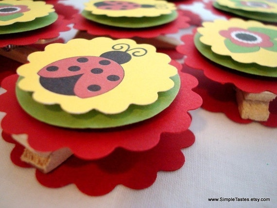 Ladybug Favor Bag Toppers, Reserved for currsdnt