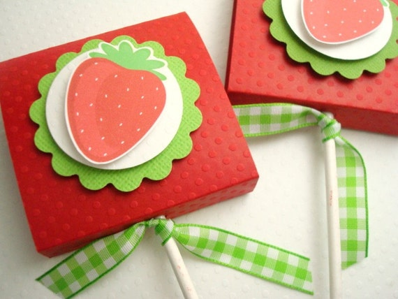 Red Strawberry Topped Lollipop Covers, Set of 20