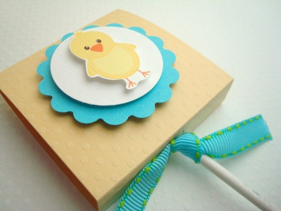 Easter Chick Lollipop Favors, Yellow and Aqua, Set of Ten